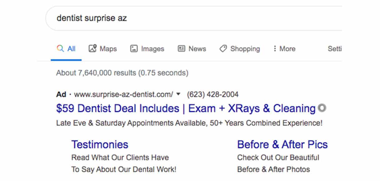 ad for dentist in surprise AZ