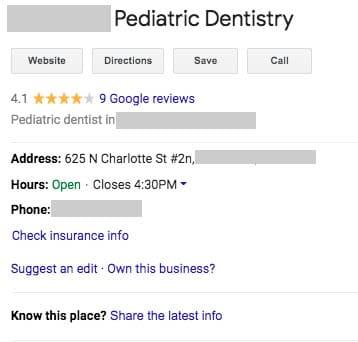 pediatric dental practice GMB listing